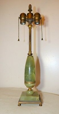 antique ornate gilt bronze green onyx stone Empire electric table lamp brass