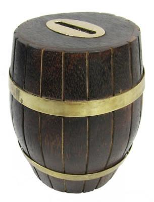 "Money Box Piggy Bank Wood Barrel Brass 12.5 cm / 5"" High"