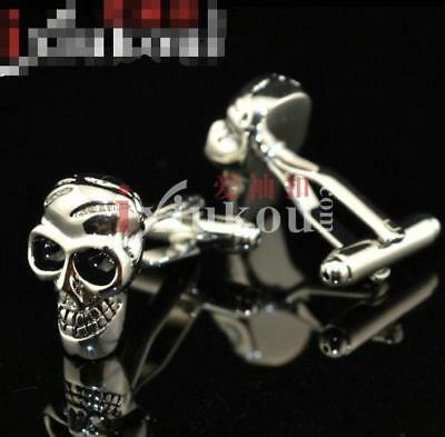 Fashion Mens Wedding Party Jewelry Gift Stainless Steel Skull head Cufflinks