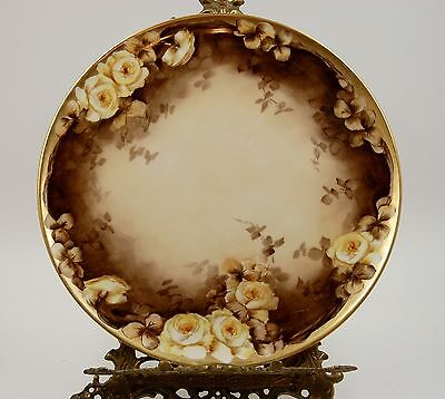 Antique Limoges Roses  Hand Painted Plaque Tray Charger