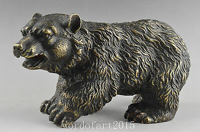 China vintage collection of decorative old copper big statue carved by hand bear