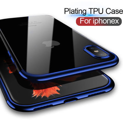 Ultra Slim Plating Silicone Soft Clear Case For iPhone 7 8 Plus X XS XR XS MAX