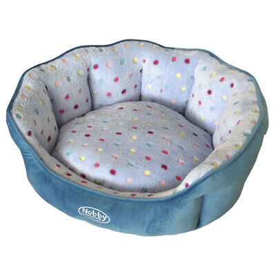 Nobby Dog Bed Oval Spot Turquoise/Light Blue, Various Sizes, New