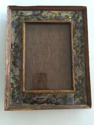 ROBERT M. WEISS Reverse Hand Painted Glass Table Frame PERU Bird Vine Floral