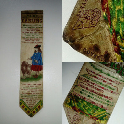 ANTIQUE NURSERY RHYME BOOK MARK  T STEVENS COVENTRY  STEVENOGRAPH sewing Des mk