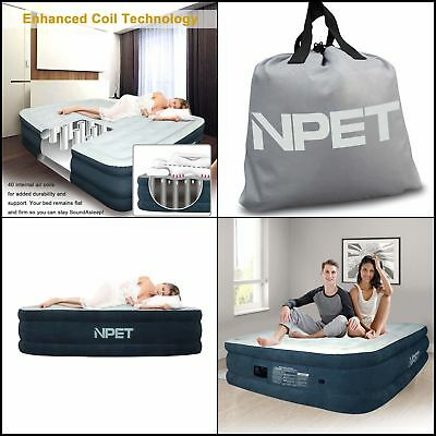 Queen Size Portable Double High Airbed Mattress Built In Air Pump Rechargeable