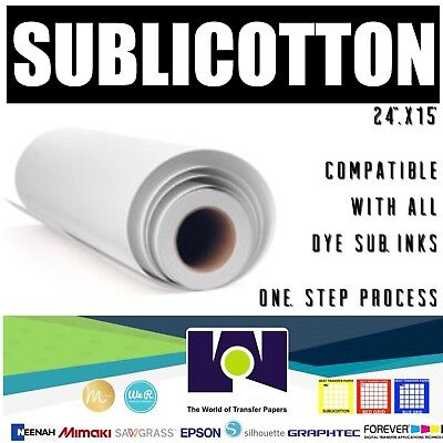 "SUBLICOTTON Heat Transfer Paper Roll 24""x50' Go to Cotton in one step"