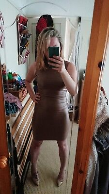 super sexy nude wet look faux leather bodycon dress by boohoo size 10/12