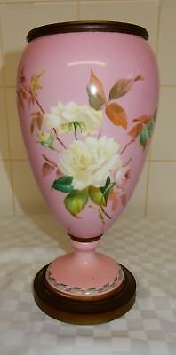 Victorian Hand Painted Pink Porcelain Bronze Lined Ashes Urn No Lid