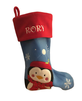 CHRISTMAS STOCKING Penguin DECORATION With Personalised Name