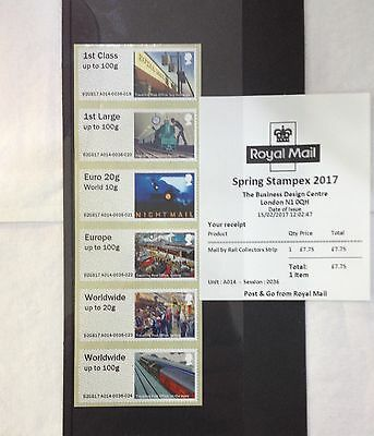 GB 2017 POST & GO Collector  STRIP MAIL BY RAIL SPRING STAMPEX