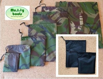 Pack of 2 Geocaching Waterproof bags Camouflage fabric or black in various sizes