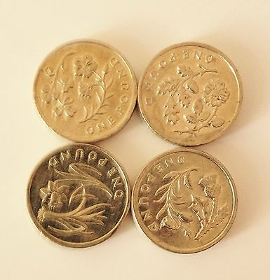 £1 Floral Full Set Coin 2013-2014/England IRELAND SCOTLAND WALES ONE POUND