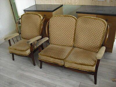 Vintage Suite of Single and Double Seater Wooden Frame Sofas Armchairs Retro