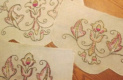 Antique Lot 3 Linen Oatmeal Embroidered Silk Chair Back Doily Art Craft Design