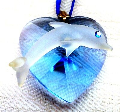 Dolphin on Tinted Blue Glass Faceted Heart Cute Clear Glass Curio Bobble
