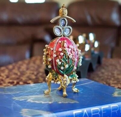 Hand Crafted  Lilies of the Valley Faberge Egg 8""
