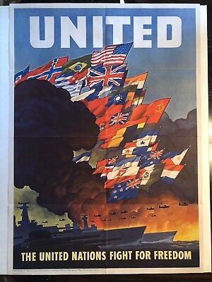"""Framed Unframed WW2 Propaganda Poster /""""The United Nations Fight for Freedom/"""""""