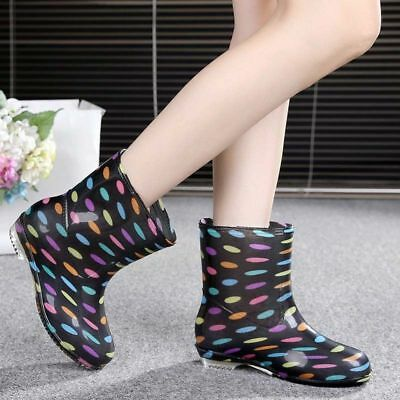 445ab140e58a Women s Mid Calf Rain Boots Waterproof Anti-skid Rubber Shoes Working Boot  New