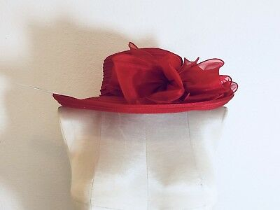Forbusite lady's derby wide brim church hat with bow red NWT size medium