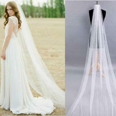 New White Ivory 1T 2M Wedding Bridal Long Veil Church Cathedral Length Comb JW46