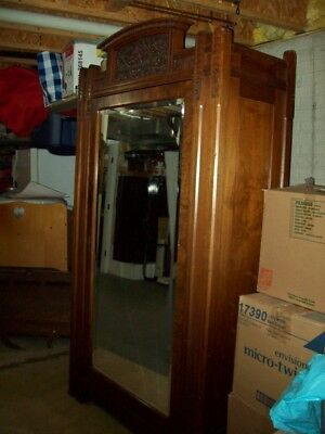 """ANTIQUE ALL WOOD ARMOIRE w/ LARGE MIRROR DOOR 7'x4'x20"""" INTRICATE CARVING wow!"""