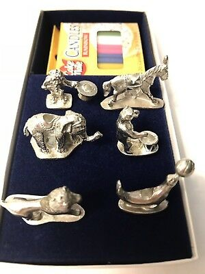 Empire Silver Circus Charming Birthday Cake Candle Holders Pewter NIB