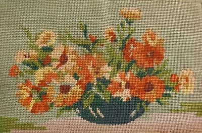 "Vintage completed needlepoint flowers vase tapestry 13.7""x9"""