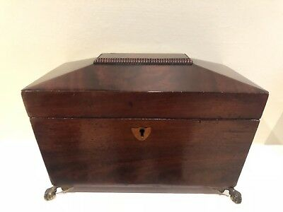 Antique Regency Large Rosewood Sarcophagus Shape Two Division Tea Caddy