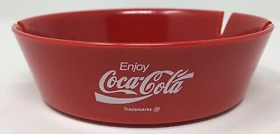 "Coca-Cola Ash Tray Red Plastic 4.5"" Rim Diameter 3.75"" Base Diameter Made in USA"