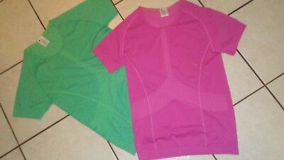 Lot 2 Pc Womens Workout Seemless Shirts Pink Turquoise Medium New Fitness Yoga