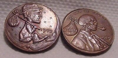 Hobo Nickel Style Penny Coins x2- Very Popular Vintage Good Luck - Dated 1909