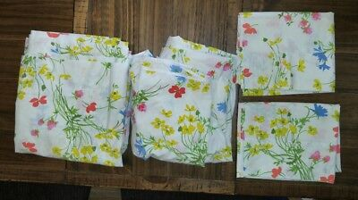 Vintage Fieldcrest No Iron Percale Double Bed Fitted Flat Sheet 2 P.Cases Floral