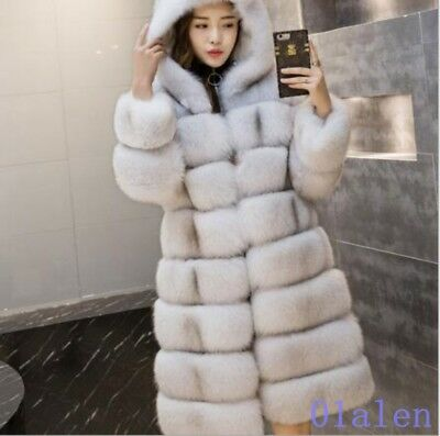 Korea Fashion Winter Womens Hooded Faux Fur Leather Mid Long Coat Warm News Hot