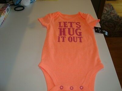 fa3280c17af3 OKIE DOKIE BABY GIRL 12 m ORANGE 1 PIECE SHORT SLEEVES WITH WORDS AT THE  FRONT