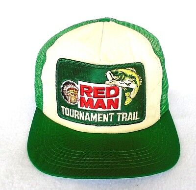 bca324ccbc1 Vintage RED MAN Chewing Tobacco Tournament Trail Snapback Mesh Trucker Hat  USA