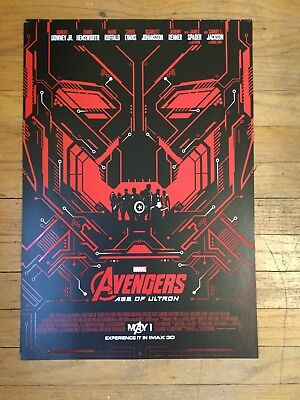 AVENGERS: AGE OF ULTRON  - Movie Poster - Flyer - 13x19 - RARE RED/BLACK IMAX