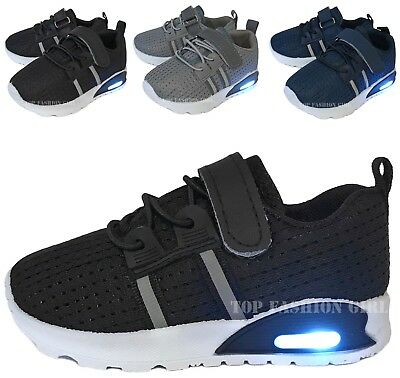 New Baby Mesh Sneakers Light Up Shoes Black Navy Grey Infant Toddler Size 2 to 7