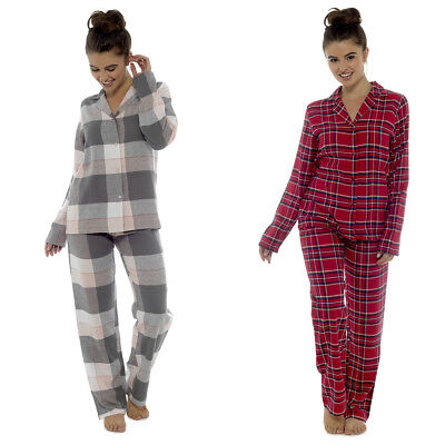 Ladies Traditional Check Long Pyjama Sleepwear Set Girls Nightwear PJ Set Cotton
