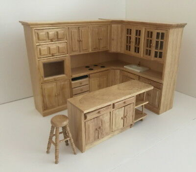 Dolls House Miniature 1:12th Scale Fitted Oak Kitchen