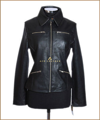 Ladies Leather Shirt Jacket Black Waxed Real Soft Leather Classic Summer Jacket
