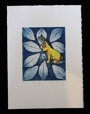 Full Moon Rabbit Print Hand tinted Natural pigments Reyes Gomez Mexican Folk