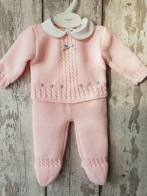 Spanish Style Baby Girl Pink 3 Piece Knitted Romper Set / Outfit.