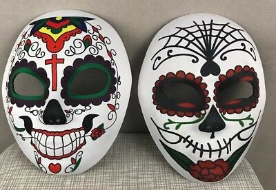 2 Sugar Skull Candy Day Of The Dead Dia De Los Muertos Masks