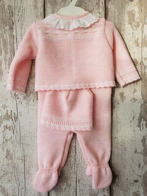 Spanish Style Baby Girl Pink 3 Piece Knitted Ruffle Collar Romper Set / Outfit.