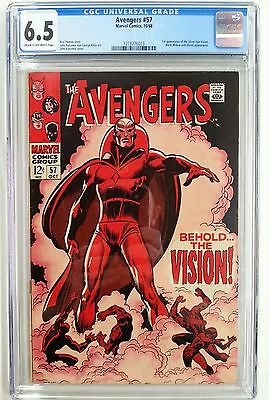 **avengers #57 Cgc 6.5**(Oct 1968 Marvel)**1St App Of Silver Age Vision**#6013**