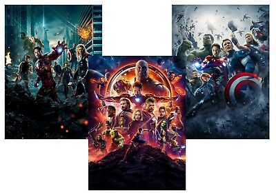MCU AVENGERS: Assemble,  Age of Ultron, Infinity War  A5 A4 A3 Textless Posters