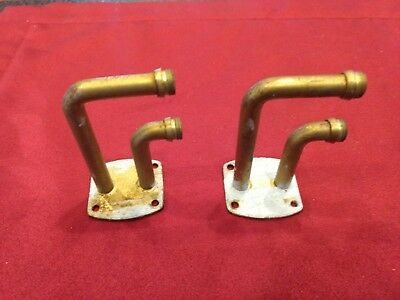 "Pair Vintage 2 3/4"" Cafe Curtain Double Bracket Rod Holder Threaded Parts"