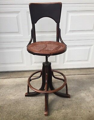 Antique Telephone Operator Bentwood Chair with Cane Seat