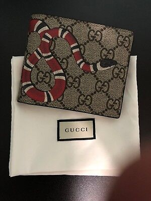 1432748fc28 Gucci Wallet King Snake Print GG Supreme Black Leather With Box Free  Shipping
